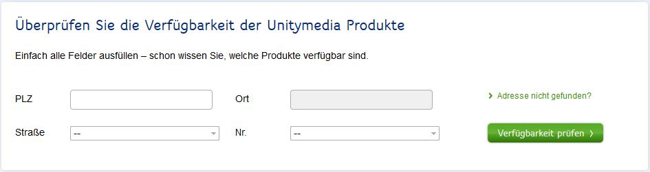 Unitymedia-Verfügbarkeitscheck