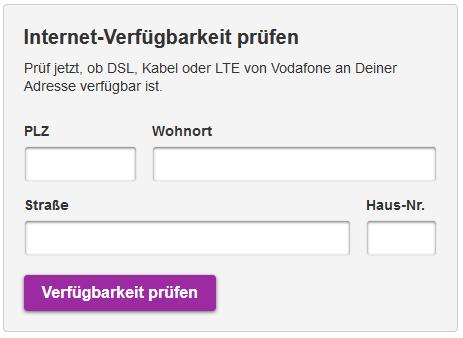 Verfügbarkeitsprüfung Vodafone Kabel Deutschland
