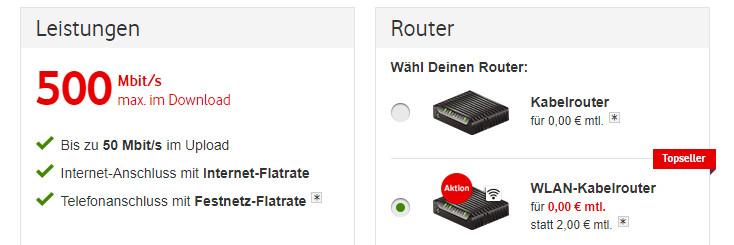 Vodafone Kabel Deutschland 500 Mbit/s