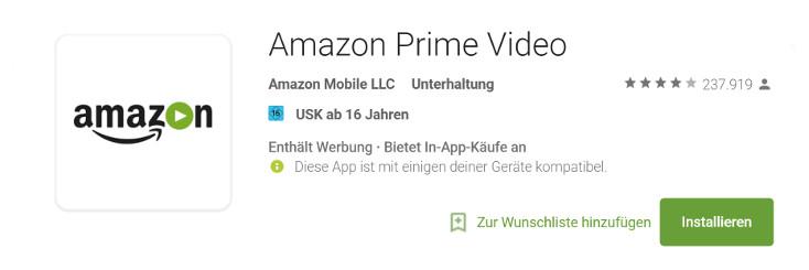 AmazonPrimeVideo Google PlayStore App