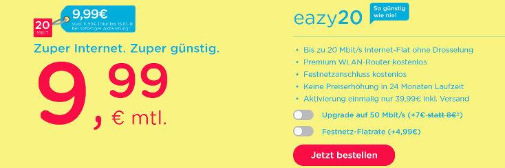 eazy20 für nur 9,99 im Monat