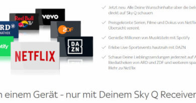 SKY Q Streamingdienste