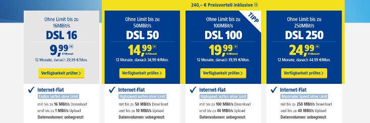 1&1 DSL 240 Euro Preisvorteil
