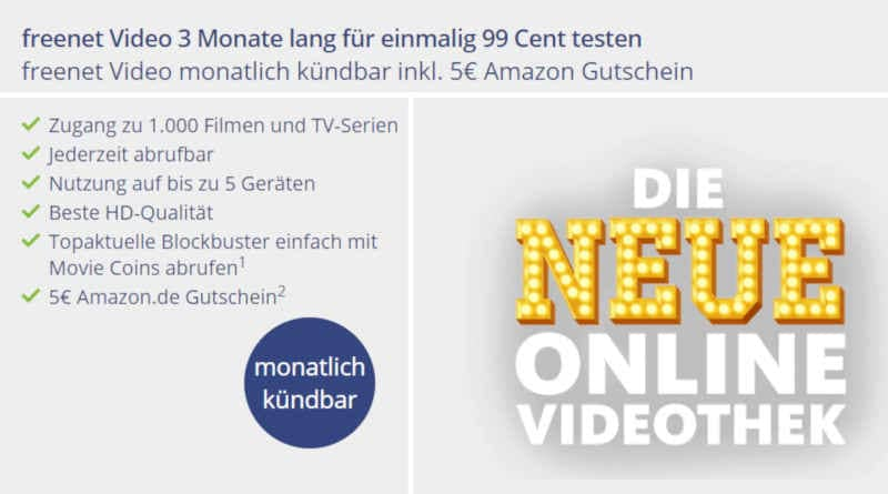 Freenet Video 3 Monate für 99 Cent