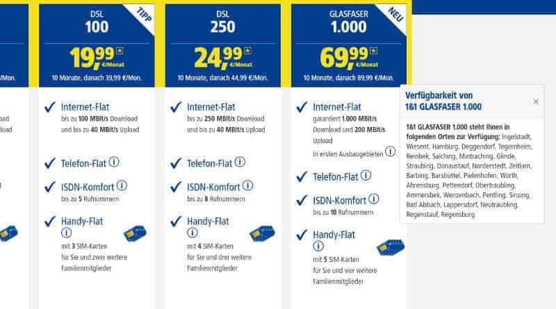 1&1 Gigabit 1000 Mbit/s
